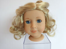AMERICAN GIRL DOLL HEAD - LT SKIN FRECKLES- BL CURLY HAIR - BLUE EYES - EARRINGS