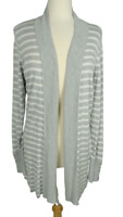 White House Black Market Cardigan Sweater Size L Gray White Stripe Open Front