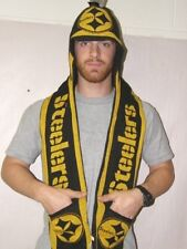 Pittburgh Steelers Knit Hooded Hat with Scarf and Pockets NFL Officially License