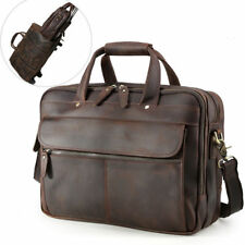 "Men Leather Travel 15.6"" Laptop Briefcases On Luggage Messenger Bag Tote Handbag"