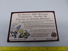 2015 MUNCHKIN INTERNATIONAL TABLE TOP DAY DUNGEON OF SUPERIOR SHOPPING  gm343