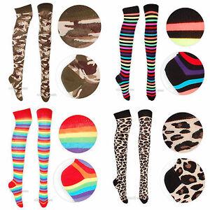 Ladies Over Knee Socks Patterned Rainbow Animal Print UK 4-6.5