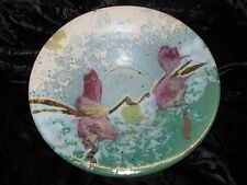 Teals Blues Mauve Original Racu Styled Pottery Artwork Bowl Stunning HandCrafted