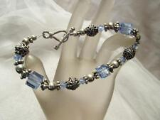 SAKI Beads 8mm Sky Blue Quartz 21g -Sterling Silver Bracelet