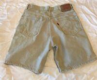 Levi's 550 Relaxed Fit size 33 Khaki Tan Denim Jean Shorts Mens 100% Cotton