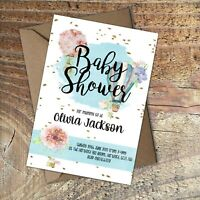 BABY SHOWER INVITATIONS Blue Watercolour Balloons Personalised PK 10