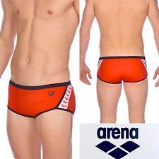 ARENA Men's 36 Team Stripe Square Cut Swim Suit Short speedo RED Brief Great Fit