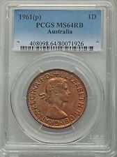 1961 (p) Australia Penny PCGS MS64 RB (71926)