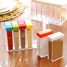Rainbow Set of 6 Spice Shaker Seasoning Bottle Jar Condiment Storage Container