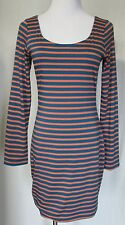 SOPRANO Striped Blue & Orange Knit Long Sleeve Fitted Dress Cut Out Back M EUC