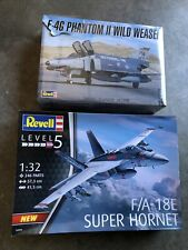 Lot of 2 Revell 1/32 F-18 Hornet F-4 Phantom Wild Weasel