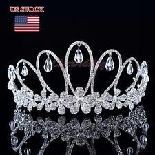 Vintage Rhinestone Wedding Tiara Pageant Princess Crown Headpiece Veil Headband