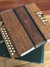 Vintage Hohner Pokerwork Wooden presswood diatonic 2 row 21 button accordion 29