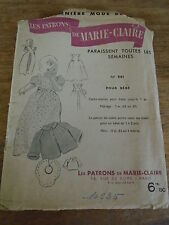 """ANCIEN PATRON  MARIE CLAIRE """"CACHE-MAILLOT/VESTE/BAVOIR T 1 A 2 ANS 1950"""
