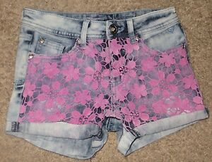 Justice Premium Jeans Simply Low Flower Lace Shorts Size 12S 12 Slim