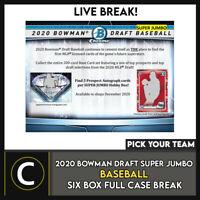 2020 BOWMAN DRAFT SUPER JUMBO BASEBALL 6 BOX CASE BREAK #A1078 - PICK YOUR TEAM
