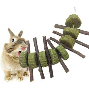 Rabbit Hamster Natural Grass Cake Branch Chew Toy Play Molar Teething Toy