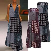 ZANZEA Women Summer Sleeveless Maxi Sundress Beach Club Party Retro Floral Dress