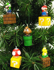 Super Mario Brothers Christmas Ornaments 5 Piece Game Scene Mario, Goomba, Luigi