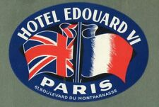 RARE Hotel luggage label FRANCE Edouard VI Paris #139