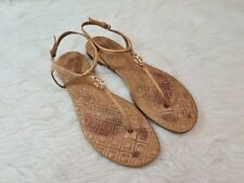 TORY BURCH Womens Tan/Gold Ankle Strap Leather Thong Sandals Size 10 M