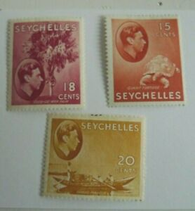 SEYCHELLES GEORGE VI SCOTT 133,134,136 MH CAT $ 13.25