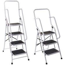 Foldable Non Slip 3 & 4 Step Steel Ladder tread Stepladder Safety Handrail Rail