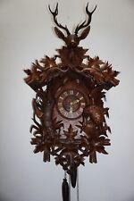 ANTIQUE HUGE (41.5) BLACK FOREST CUCKOO CLOCK W. DUCK & RABBIT