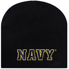 Embroidered USN Navy Blue Gold Military Beanie Stocking Watch Cap Hat Licensed
