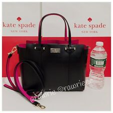 NWT Kate Spade Arbour Hill Alston Leather Handbag Black Sweetheart Pink WKRU4170