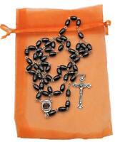 Jesus Christ Crucifix Cross Pendant Catholic Rosary Necklace Unisex Black beads