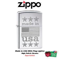 Zippo Made in USA With Flag Lighter, High Polish Chrome #29430