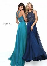 Sherri Hill 50615 Navy Blue Stunning Pageant Prom Gown Dress sz 16