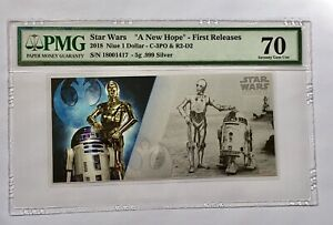 2018 NIUE STAR WARS R2-D2 & C-3PO - 5 GRAM SILVER NOTE - PMG 70 FIRST RELEASES