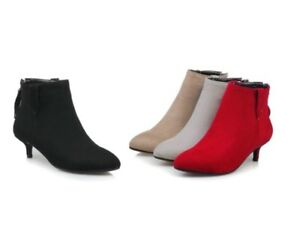 Womens Zip-Up Ankle Boots Kitten Heel Booties Suede Fabric Pointed Shoes UK Size