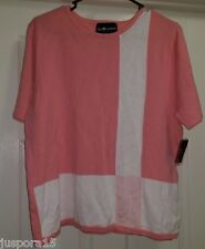 Sag Harbor NWT Womens White/Pink Sweater Top Size L