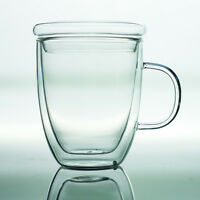 350ml 12oz Heat Insulated Clear Double Walled Glass Tea Cup Coffee Mug With Lid