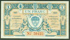 NECESSITE 1 FRANC CHAMBRE DE COMMERCE AURILLAC CANTAL ETAT: SPL  lot 252