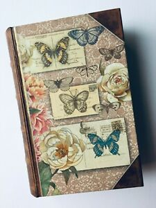 BUTTERFLIES. GIFT BOX. STASH BOX. Faux Book Box. New. NATURE. Flowers. SECRET.