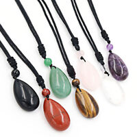 Natural Crystal Gemstone Reiki Water Drop Bead Pendant With Cord Necklace Gifts