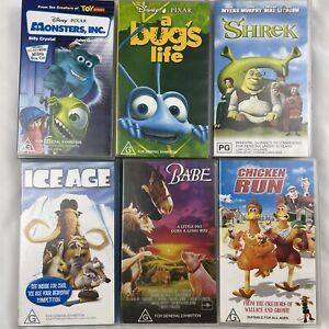 6 x Children Classic VHS Tape Animated Movies Disney Pixar Monsters Inc Bulk Lot