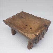 Antique Wooden Bowl Vintage Teak Wood Primitive Rustic Decor Collectible