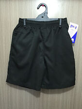 BNWT Boys Sz 12 LW Reid Brand Smart Black Gaberdine Elastic Waist School Shorts