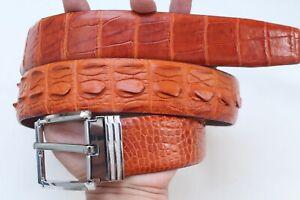 "Orange Genuine Alligator, CROCODILE Leather Skin Men's Belt - W1.5"""