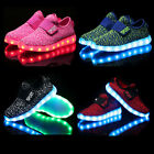 Boys Girls Colorful LED Light Up Sport Flats Sneakers Kids party Baby Shoes