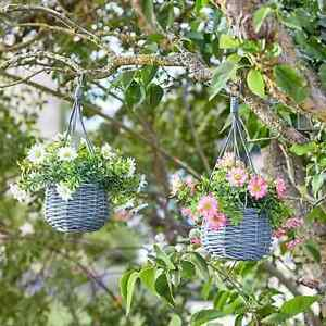 Artificial Meadow Set of 2 Mini Hanging Baskets Pink & White