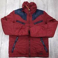 Diesel Wegler Teflon Puffer Jacket Mens Medium Purple Denim Trim Full Zip Coat