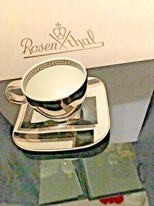 $300 VERSACE PLATINUM COFFEE CUP SAUCER ESPRESSO DEDALO SET ROSENTHAL NEW RARE
