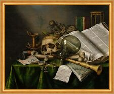 Vanitas - Still Life with Books and Manuscripts Collier Schädel Glas B A2 01731