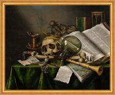 Vanitas-Still Life with books and Manuscripts Collier cráneo de cristal B a2 01731